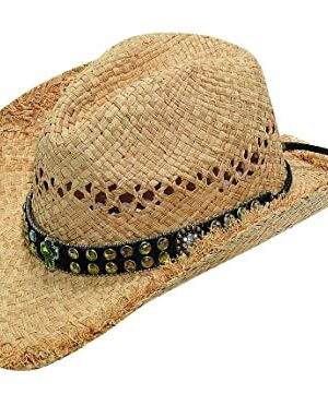 Blazin Roxx Cross Rhinestone Straw Hat