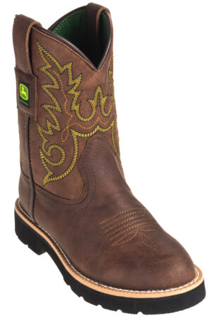 John Deere Dark Chestnut Round Toe Youth Boot