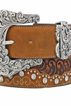Tony Lama Brown Kaitlyn Crystal Belt (Front)