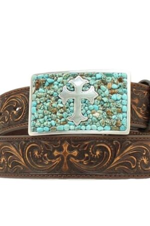 M&F Nocona Embossed Brown Belt