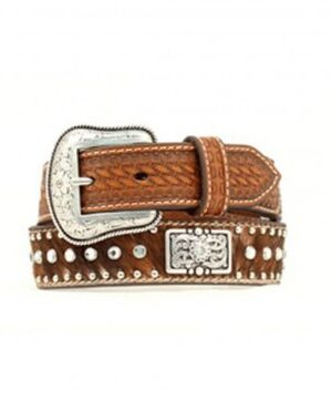 M&F Kids Brown Calf Hair Rhinestones Belt