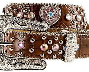 M&F Girls Nocona Brown Heart Belt