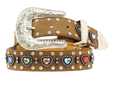 M&F Brown Multi-Colored Heart Rhinestone Belt