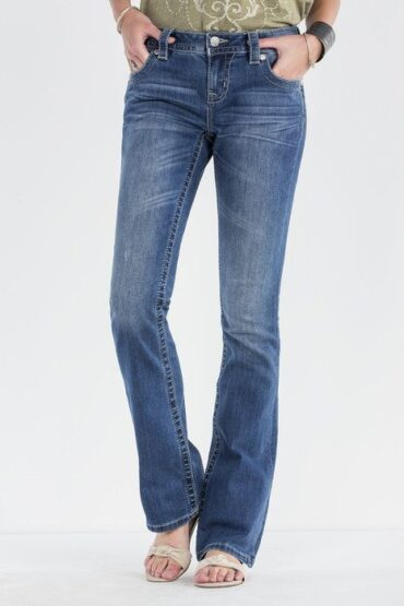 Miss Me Mid Rise Scalloped Feathers Boot Cut Jeans