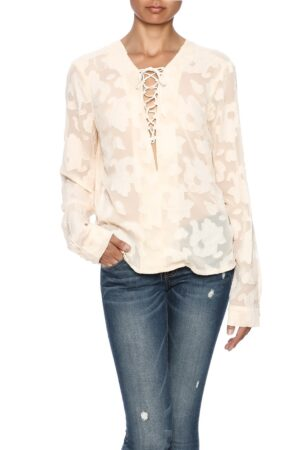 Miss Me Ladies Sheer Lace-Up Blouse