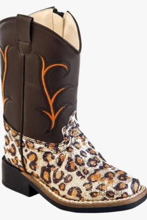 Old West Girls Leopard Print Boot (Size 4.5-8)