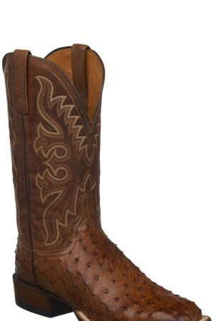 Lucchese Men's Harmon Barnwood Full Quill Ostrich Square Toe Boots