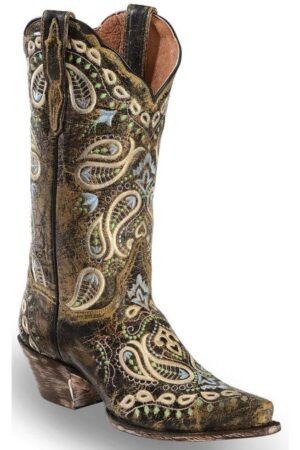Dan Post Ladie's Distressed Brown Embroidered Snip Toe Boots