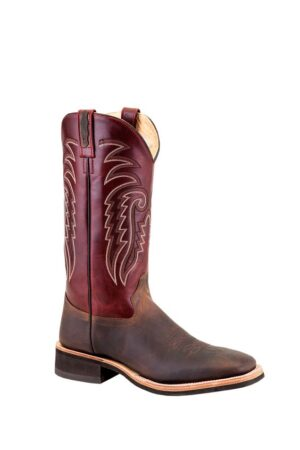 Old West Men's Brown/Burgundy Square Toe Boots