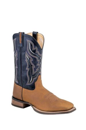 Old West Men's Light Brown Distressed Square Toe Boots