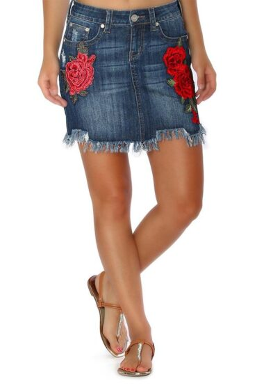 Grace In L.A. Rose Embroidered Denim Skirt