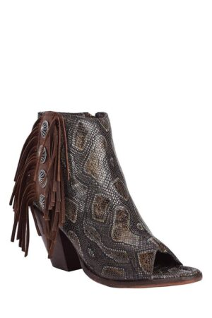 Liberty Black Vintage Snake Print Booties