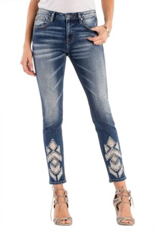 Miss Me Down To Shine Mid Rise Ankle Skinny Jeans