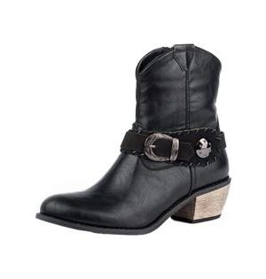 Roper Women's Black Harness Round Toe Boots