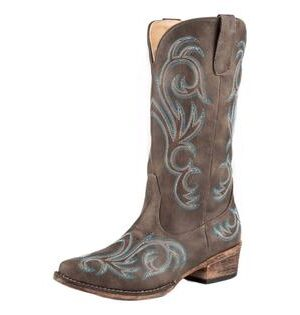 Roper Riley Brown Vintage Snip Toe Boots