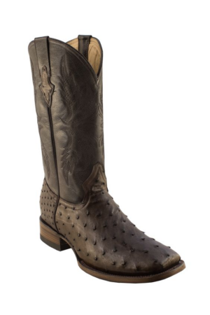 Pecos Bill Brown Full Quill Square Toe Ostrich Boot