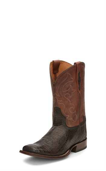 Tony Lama Men's Brown Caiman Belly Square Toe Boots