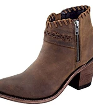 Old West Women's Brown Round Toe Ankle Boots