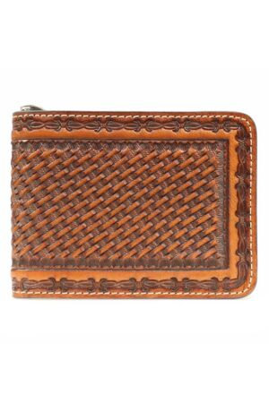 Nocona Embossed Basket Weave Money Clip Wallet
