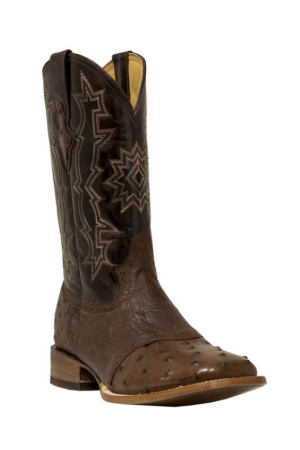 Pecos Bill Brown Smooth Ostrich Square Toe Boots
