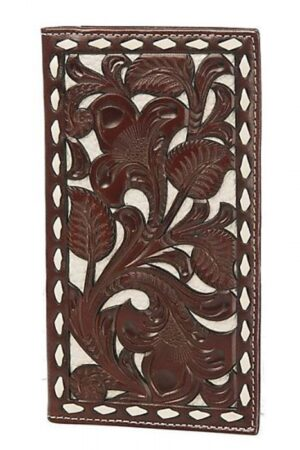 Nocona Brown And Ivory Tooled Overlay Rodeo Wallet