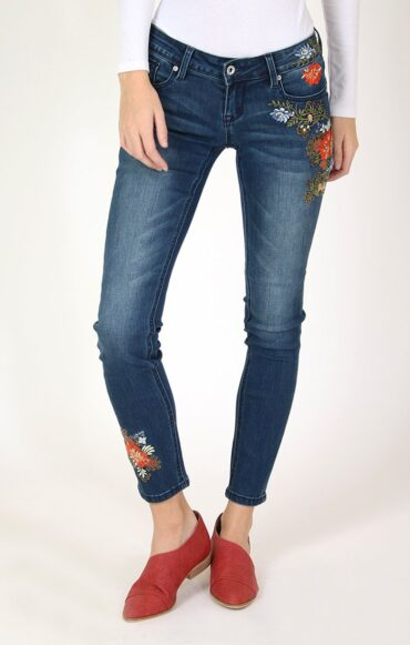 Grace Floral Embroidered Skinny Jeans