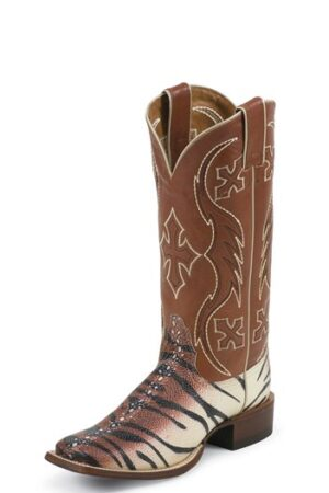 Nocona Women's Beige and Black Tiger Ray Boots