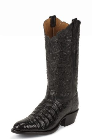 Black Belly Antique Caiman Western Boots