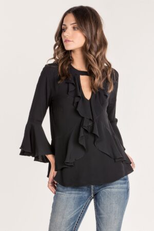 Miss Me Black Keyhole Ruffle Bell Sleeve Top