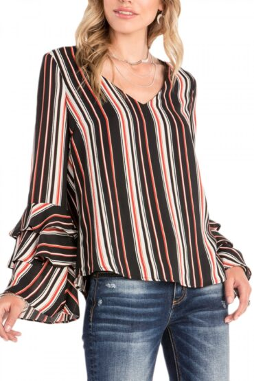 Miss Me Ladies Black Tiered Ruffle Sleeve Striped Top