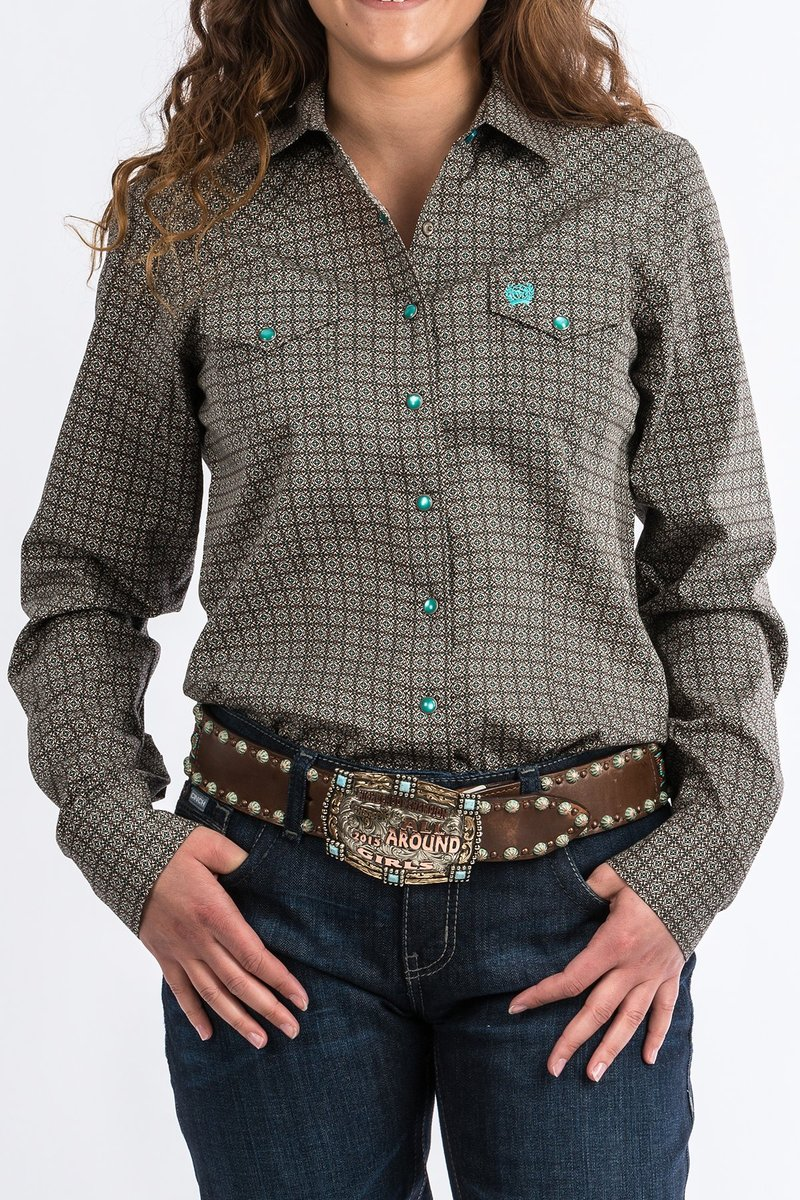 Cinch Ladies Brown & Turquoise Print Western Shirt