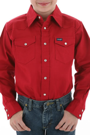 Wrangler Boy's Long Sleeve Red Snap Shirt