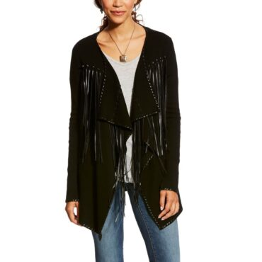 Ariat Ladies Trenton Black Fringed Cardigan
