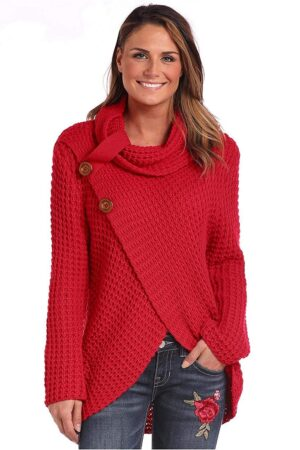 Panhandle Slim Waffle Knit Crossover Cowl Neck Red Sweater