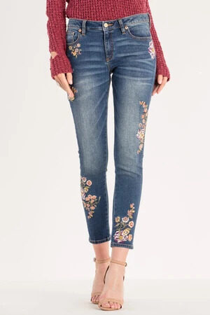 Miss Me Floral Embroidered Mid-rise Ankle Skinny Jeans