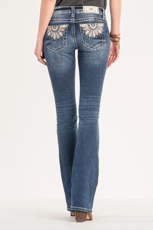 Miss Me Feather Embroidered Mid-rise Bootcut Jeans