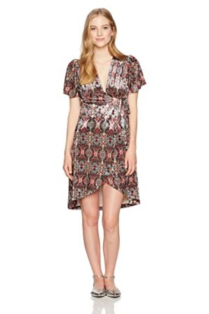 Angie Women's Short Sleeve Printed Velvet Wrap Dress