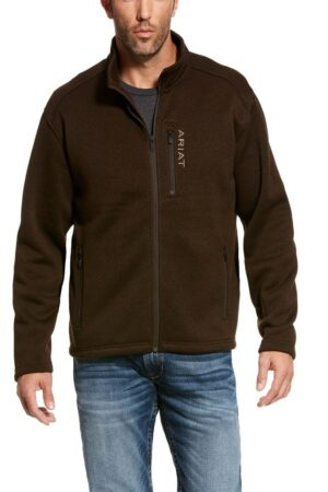 Ariat Men's Caldwell Full Zip Dark Brew Brown Sweater Jacket