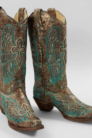 Corral Metallic Turquoise Wings and Cross Inlay Boots
