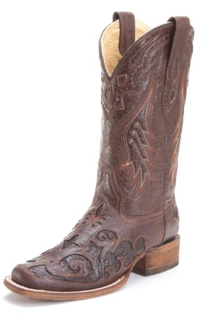 Corral Ladies Chocolate Snake Inlay Brown Boots