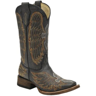 Corral Youth Distressed Black Square Toe Cowboy Boots