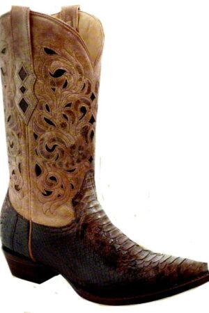 Corral Brown Beige Python Laser Top Boots