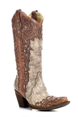 Corral Ladies Sand Cognac Laser Overlay Boots
