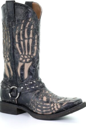 Corral Men's Black Crackle Hand Bone Inlay Motorcycle Boots