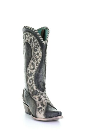 Corral Ladies Black Overlay, Woven, Crystals & Studs Boots