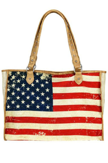 Montana West American Flag Painted Canvas Tote Bag