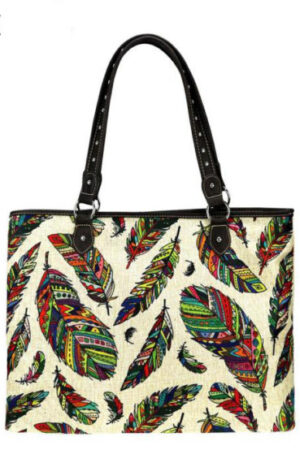 Montana West Feather Print Canvas Tote Bag