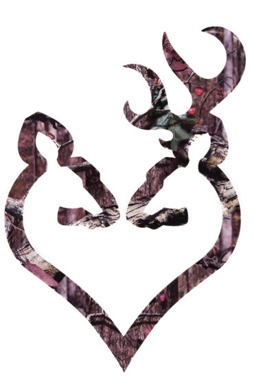 """Browning Buck Mark His & Her Heart 6"""" Camo Decal"""